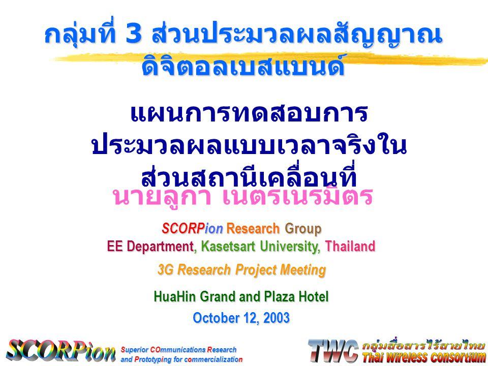 Superior COmmunications Research and Prototyping for commercialization นายลูกา เนตรเนรมิตร กลุ่มที่ 3 ส่วนประมวลผลสัญญาณ ดิจิตอลเบสแบนด์ SCORPion Research Group EE Department, Kasetsart University, Thailand 3G Research Project Meeting HuaHin Grand and Plaza Hotel October 12, 2003 แผนการทดสอบการ ประมวลผลแบบเวลาจริงใน ส่วนสถานีเคลื่อนที่