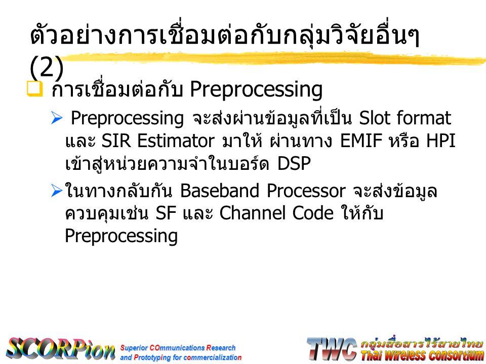 Superior COmmunications Research and Prototyping for commercialization ตัวอย่างการเชื่อมต่อกับกลุ่มวิจัยอื่นๆ (2)  การเชื่อมต่อกับ Preprocessing  Preprocessing จะส่งผ่านข้อมูลที่เป็น Slot format และ SIR Estimator มาให้ ผ่านทาง EMIF หรือ HPI เข้าสู่หน่วยความจำในบอร์ด DSP  ในทางกลับกัน Baseband Processor จะส่งข้อมูล ควบคุมเช่น SF และ Channel Code ให้กับ Preprocessing