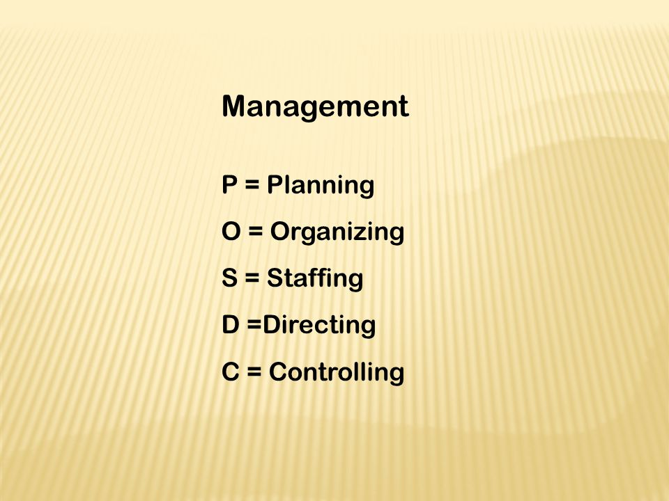 Management P = Planning O = Organizing S = Staffing D =Directing C = Controlling
