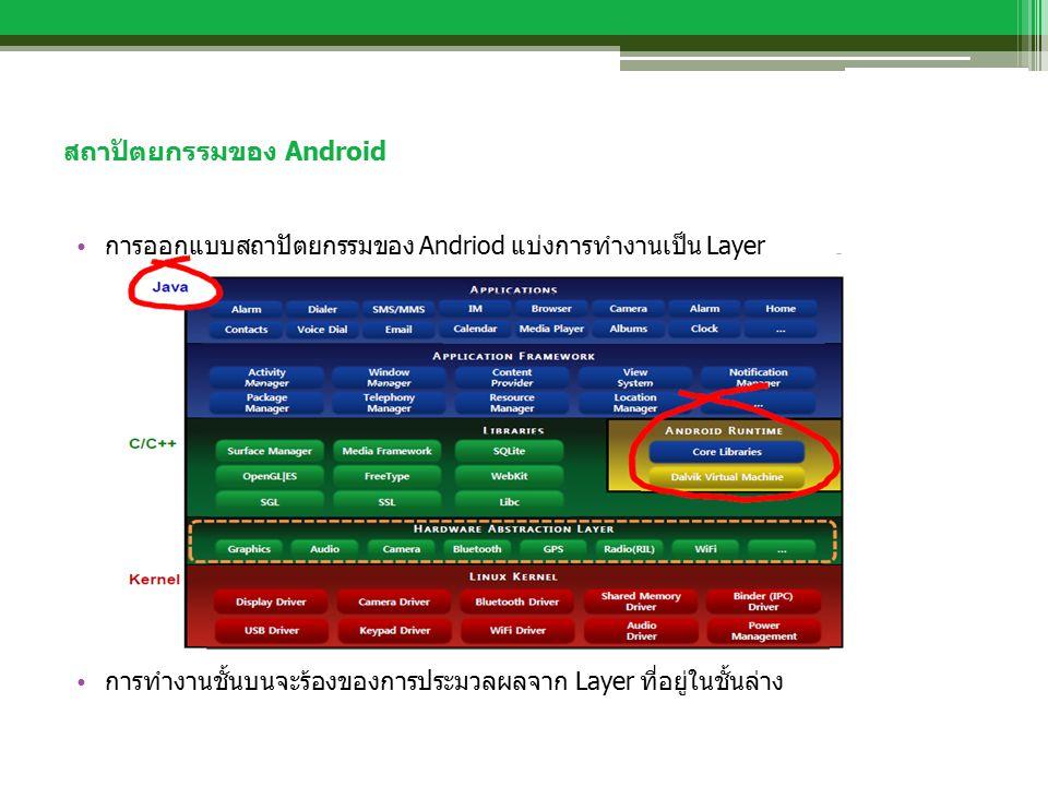 สถาปัตยกรรมของ Android การออกแบบสถาปัตยกรรมของ Andriod แบ่งการทำงานเป็น Layer การทำงานชั้นบนจะร้องของการประมวลผลจาก Layer ที่อยู่ในชั้นล่าง
