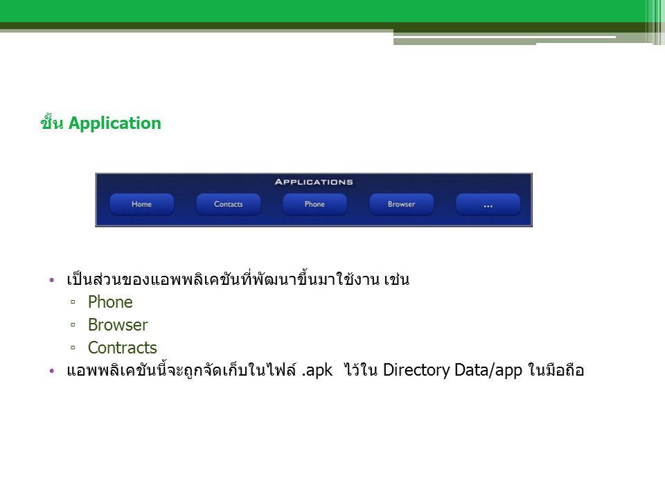 ชั้น Application เป็นส่วนของแอพพลิเคชันที่พัฒนาขึ้นมาใช้งาน เช่น ▫ Phone ▫ Browser ▫ Contracts แอพพลิเคชันนี้จะถูกจัดเก็บในไฟล์.apk ไว้ใน Directory Data/app ในมือถือ