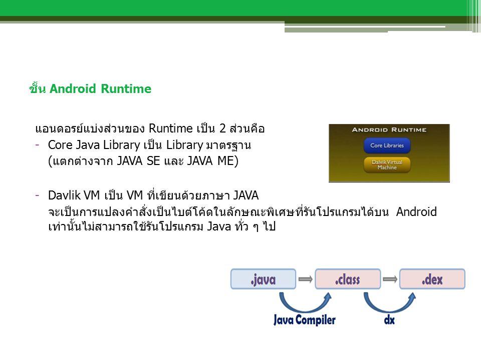ชั้น Android Runtime แอนดอรย์แบ่งส่วนของ Runtime เป็น 2 ส่วนคือ -Core Java Library เป็น Library มาตรฐาน (แตกต่างจาก JAVA SE และ JAVA ME) -Davlik VM เป็น VM ที่เขียนด้วยภาษา JAVA จะเป็นการแปลงคำสั่งเป็นไบต์โค้ดในลักษณะพิเศษที่รันโปรแกรมได้บน Android เท่านั้นไม่สามารถใช้รันโปรแกรม Java ทั่ว ๆ ไป