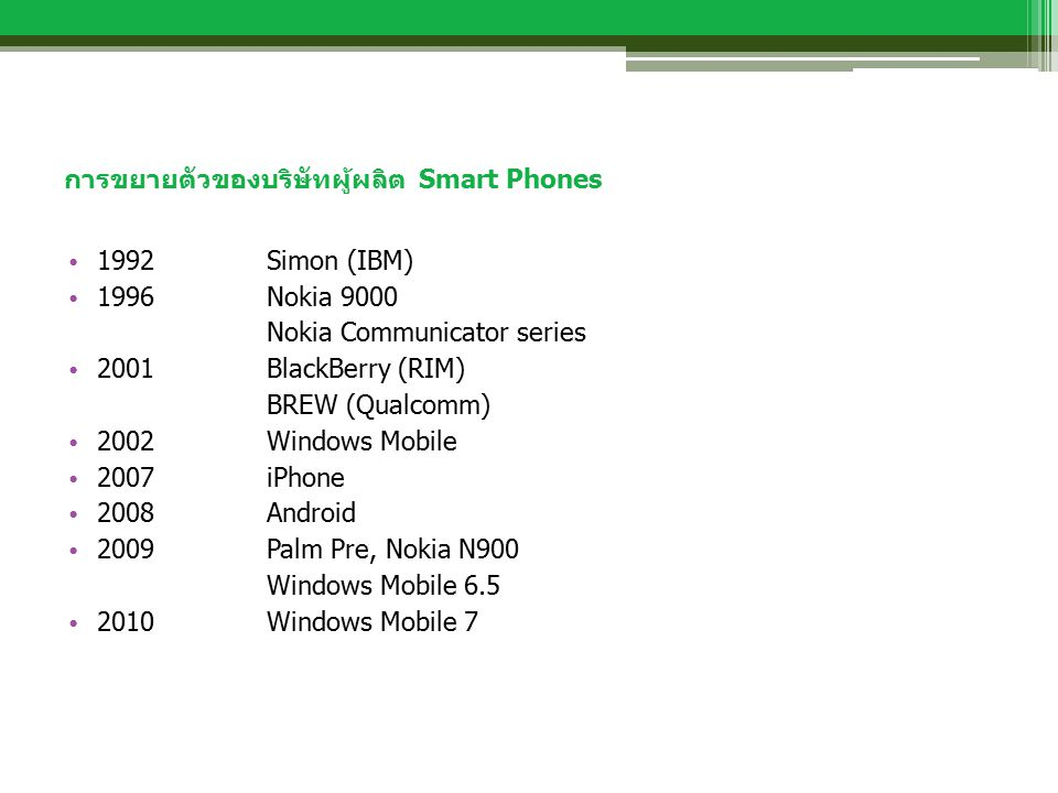 การขยายตัวของบริษัทผู้ผลิต Smart Phones 1992 Simon (IBM) 1996 Nokia 9000 Nokia Communicator series 2001BlackBerry (RIM) BREW (Qualcomm) 2002 Windows M