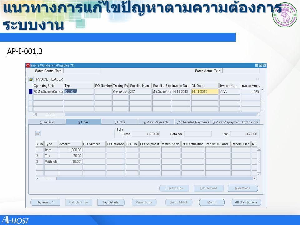 แนวทางการแก้ไขปัญหาตามความต้องการ ระบบงาน ข้อที่รายละเอียดความ ต้องการ แนวทางการแก้ไข ปัญหา หน่วยงานผู้ให้ ข้อมูล ประเภทความ ต้องการ AP-I-016อยากให้ระบบ Check ทำการ บันทึก Account Dr,Cr Segment กองทุน, แหล่งเงิน ถ้าไม่สัมพันธ์ ต้อง ไม่ให้สามารถ Validate ได้ ไม่สามารถทำได้ เนื่องระบบ ไม่กำหนด Balancing Segment ได้มากกว่า1 ซึงใน ปัจจุบัน Balancing Segment คือ Segment กองทุน คณะวิทยาศาสตร์ อื่นๆ AP-I-017ทศนิยมจากการจัดซื้อเมื่อมา ทำการตั้งหนี้ทศนิยมจะไม่ ตรงกันต้องทำการปันส่วน ภาษี(Allocate)ระบบใหม่จะ เกิดเหตุการณ์อย่างแบบนี้ หรือไม่ หลักการแก้ไข มุ่งเน้นไปที่ Excel ที่ User ใช้สำหรับถอด Vat ควรกำหนดทศนิมให้ สอดคล้องกับระบบ เพราะ กรณีที่ซัพพลายเออร์ เสนอ ราคาแบบรวม Vat มาอาจจะ เป็นส่วนหนึ่ง ไม่ใช่ทั้งหมด เพราะหากปรับที่ระบบอาจจะ ทำให้ไม่สามารถซื้อสินค้า ปริมาณมากๆแล้วราคาต่อ หน่วยน้อยๆได้ ดังนั้นเสนอให้ Excel ปรับทศนิมอย่างมากไม่ เกิน 5 ตำแหน่ง ซึ่งจะ สอดคล้องกับการเก็บต้นทุนที่ ระบบ Inventory และเมื่อจับคู่ ที่ AP ทศนิยม 2 ตำแหน่ง อาจจะมีผลต่างทศนิยมและ ต้องมีการปันส่วนภาษี (Allocate) การตั้งค่าระบบ