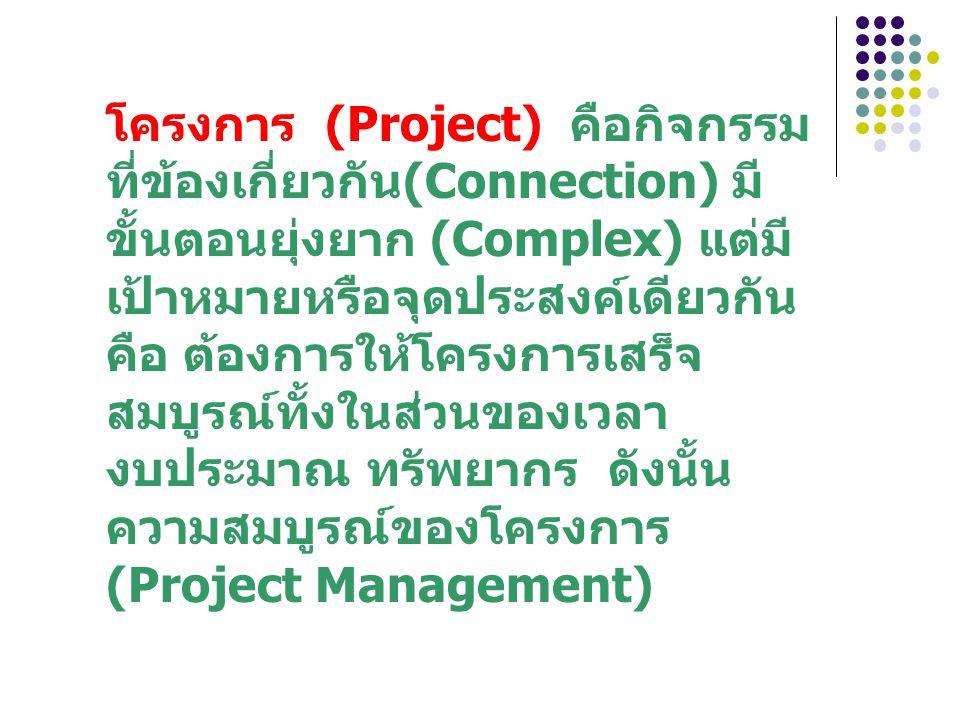 โครงการ (Project) คือกิจกรรม ที่ข้องเกี่ยวกัน(Connection) มี ขั้นตอนยุ่งยาก (Complex) แต่มี เป้าหมายหรือจุดประสงค์เดียวกัน คือ ต้องการให้โครงการเสร็จ