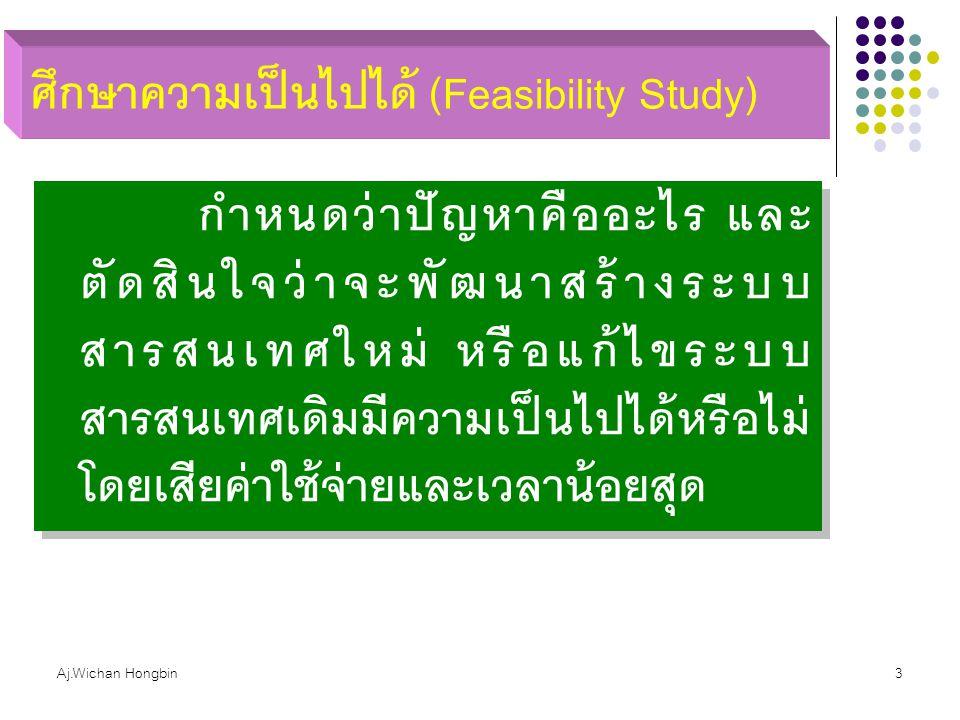 Aj.Wichan Hongbin3 ศึกษาความเป็นไปได้ (Feasibility Study) กำหนดว่าปัญหาคืออะไร และ ตัดสินใจว่าจะพัฒนาสร้างระบบ สารสนเทศใหม่ หรือแก้ไขระบบ สารสนเทศเดิม