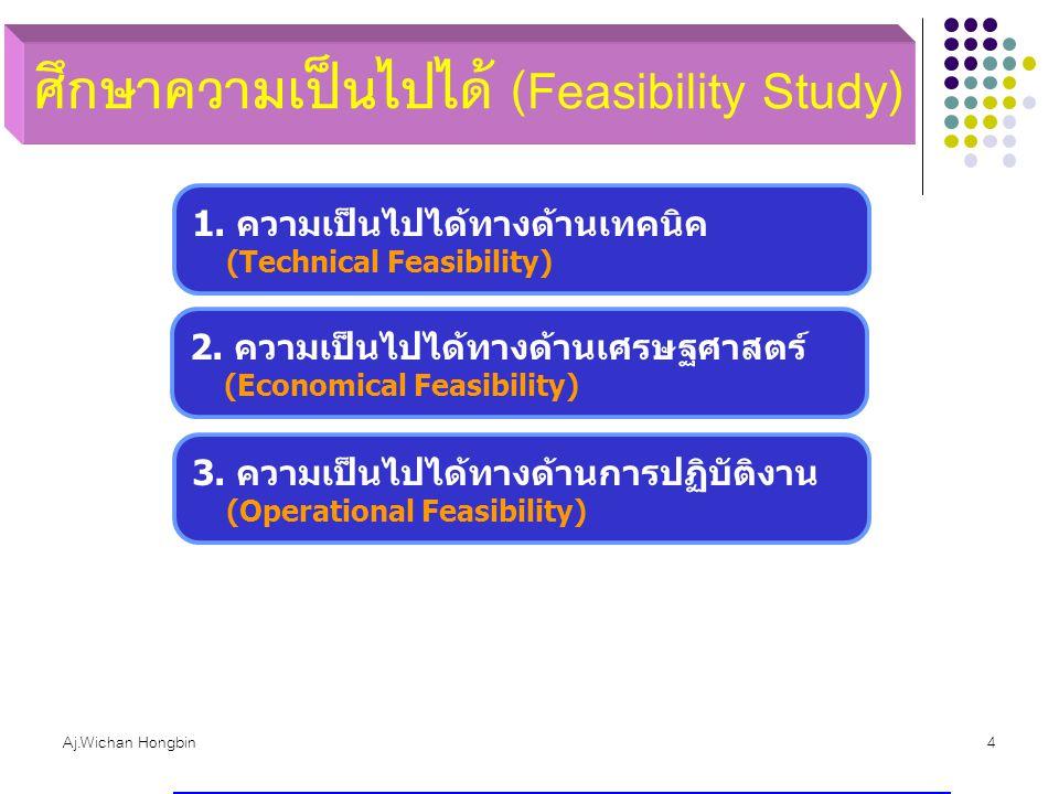 Aj.Wichan Hongbin4 1. ความเป็นไปได้ทางด้านเทคนิค (Technical Feasibility) 2. ความเป็นไปได้ทางด้านเศรษฐศาสตร์ (Economical Feasibility) 3. ความเป็นไปได้ท