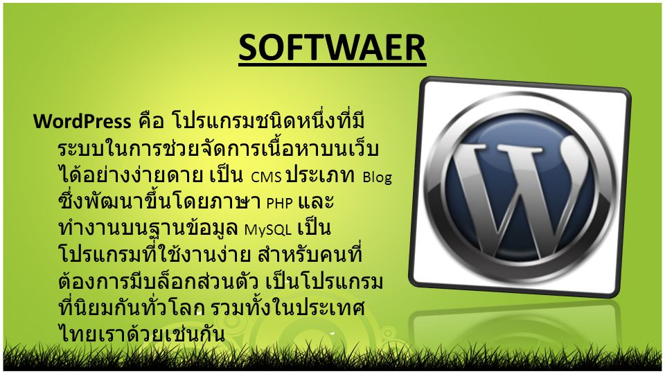 SOFTWAER WordPress คือ โปรแกรมชนิดหนึ่งที่มี ระบบในการช่วยจัดการเนื้อหาบนเว็บ ได้อย่างง่ายดาย เป็น CMS ประเภท Blog ซึ่งพัฒนาขึ้นโดยภาษา PHP และ ทำงานบ