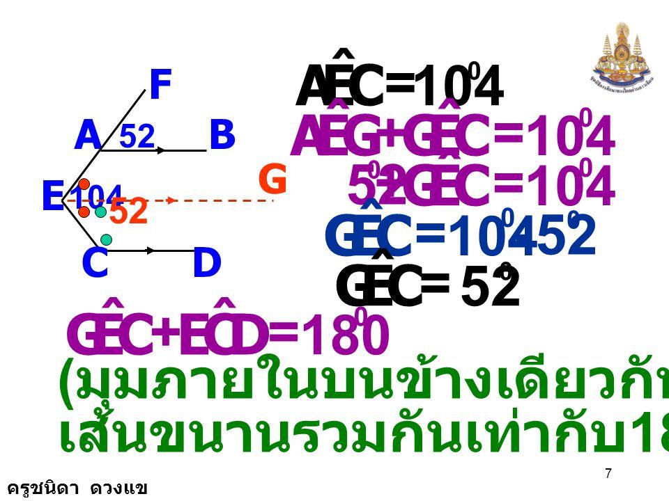 ครูชนิดา ดวงแข 7 AB F E CD 104 52 G ( มุมภายในบนข้างเดียวกันของเส้นตัด เส้นขนานรวมกันเท่ากับ 180 องศา ) CEA ˆ = 104 0 GEA ˆ CEG ˆ += 0 CEG ˆ += 0 52 0 CEG ˆ = 104 0 52 0 - CEG ˆ = 0 CEG ˆ DCE ˆ += 180 0 52