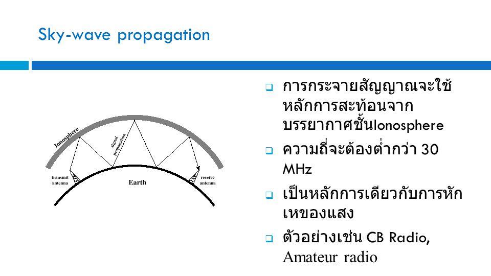 Sky-wave propagation  การกระจายสัญญาณจะใช้ หลักการสะท้อนจาก บรรยากาศชั้น Ionosphere  ความถี่จะต้องต่ำกว่า 30 MHz  เป็นหลักการเดียวกับการหัก เหของแสง  ตัวอย่างเช่น CB Radio, Amateur radio