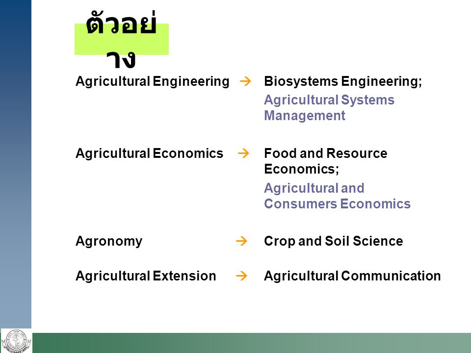 ตัวอย่ าง Agricultural Engineering  Biosystems Engineering; Agricultural Systems Management Agricultural Economics  Food and Resource Economics; Agr