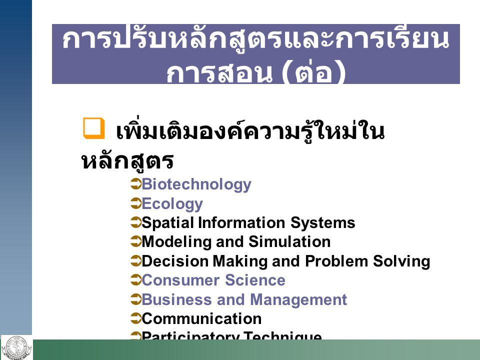 การปรับหลักสูตรและการเรียน การสอน ( ต่อ )  เพิ่มเติมองค์ความรู้ใหม่ใน หลักสูตร  Biotechnology  Ecology  Spatial Information Systems  Modeling and Simulation  Decision Making and Problem Solving  Consumer Science  Business and Management  Communication  Participatory Technique