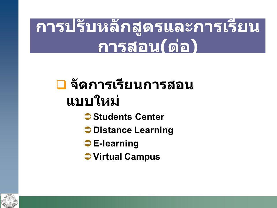  จัดการเรียนการสอน แบบใหม่  Students Center  Distance Learning  E-learning  Virtual Campus การปรับหลักสูตรและการเรียน การสอน ( ต่อ )