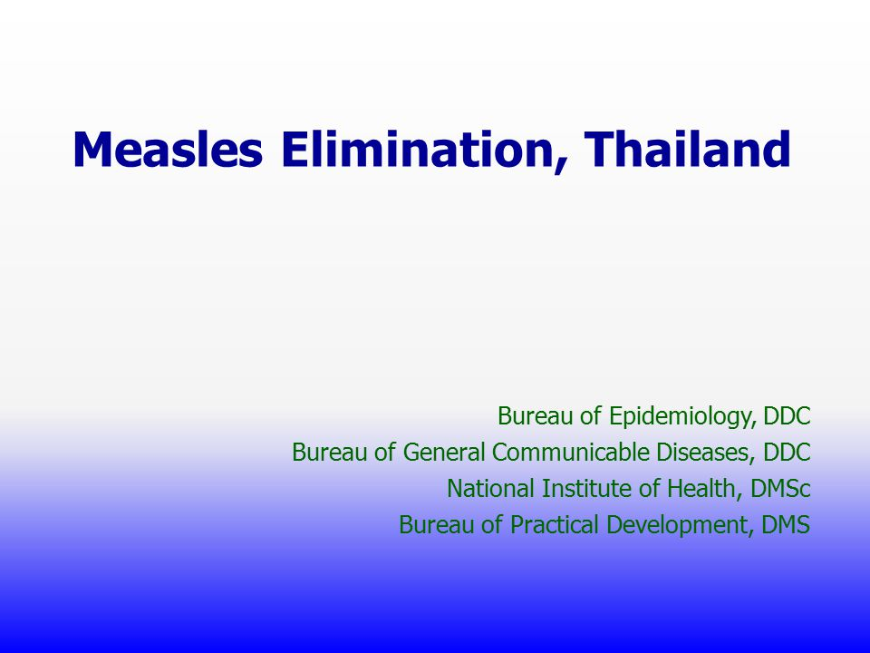 Confirmed Measles outbreak, 2012 Measles outbreak ProvincePlaceAge (yr) Race onset%AR 1Chiang RaiSchool - Community0 - 12JanNA 2PetchaboonChicken slaughtering factory 18 – 25 Myanmar Feb1.8 3KanchanaburiPrison22 – 34, 40 Thai Feb0.9 4PhuketForeign tourist (Europe) AdultApr 4 ราย 5 Chiang Mai (R/O measles) School6 – 9 Thai June8