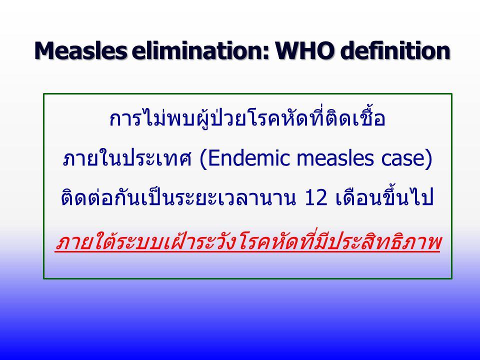 Measles elimination: WHO definition การไม่พบผู้ป่วยโรคหัดที่ติดเชื้อ ภายในประเทศ (Endemic measles case) ติดต่อกันเป็นระยะเวลานาน 12 เดือนขึ้นไป ภายใต้ระบบเฝ้าระวังโรคหัดที่มีประสิทธิภาพ