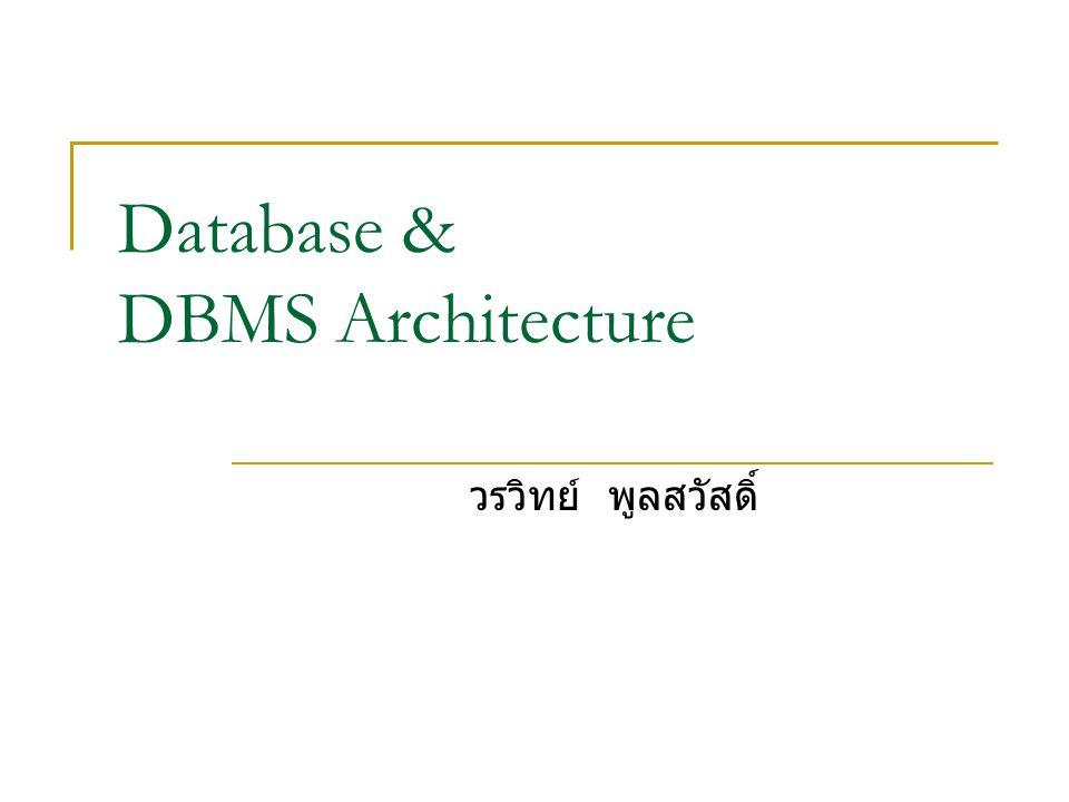 Database & DBMS Architecture วรวิทย์ พูลสวัสดิ์