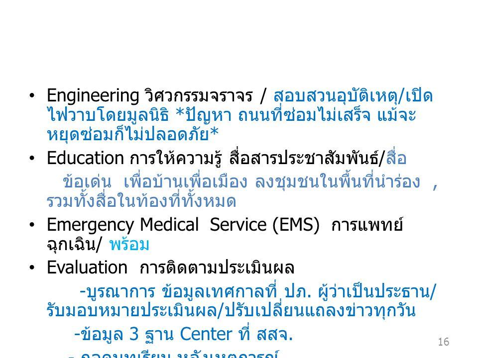 Engineering วิศวกรรมจราจร / สอบสวนอุบัติเหตุ / เปิด ไฟวาบโดยมูลนิธิ * ปัญหา ถนนที่ซ่อมไม่เสร็จ แม้จะ หยุดซ่อมก็ไม่ปลอดภัย * Education การให้ความรู้ สื่อสารประชาสัมพันธ์ / สื่อ ข้อเด่น เพื่อบ้านเพื่อเมือง ลงชุมชนในพื้นที่นำร่อง, รวมทั้งสื่อในท้องที่ทั้งหมด Emergency Medical Service (EMS) การแพทย์ ฉุกเฉิน / พร้อม Evaluation การติดตามประเมินผล - บูรณาการ ข้อมูลเทศกาลที่ ปภ.