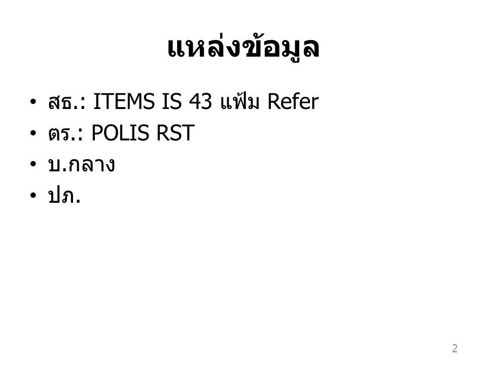 แหล่งข้อมูล สธ.: ITEMS IS 43 แฟ้ม Refer ตร.: POLIS RST บ. กลาง ปภ. 2
