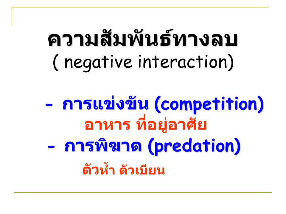 ความสัมพันธ์ทางลบ ( negative interaction) - การแข่งขัน (competition) - การพิฆาต (predation) อาหาร ที่อยู่อาศัย ตัว ห้ำ ตัวเบียน