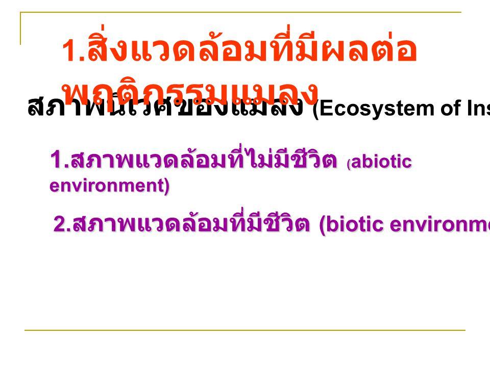 สภาพนิเวศของแมลง (Ecosystem of Insect) 1. สภาพแวดล้อมที่ไม่มีชีวิต ( abiotic environment) 2. สภาพแวดล้อมที่มีชีวิต (biotic environment) 1. สิ่งแวดล้อม