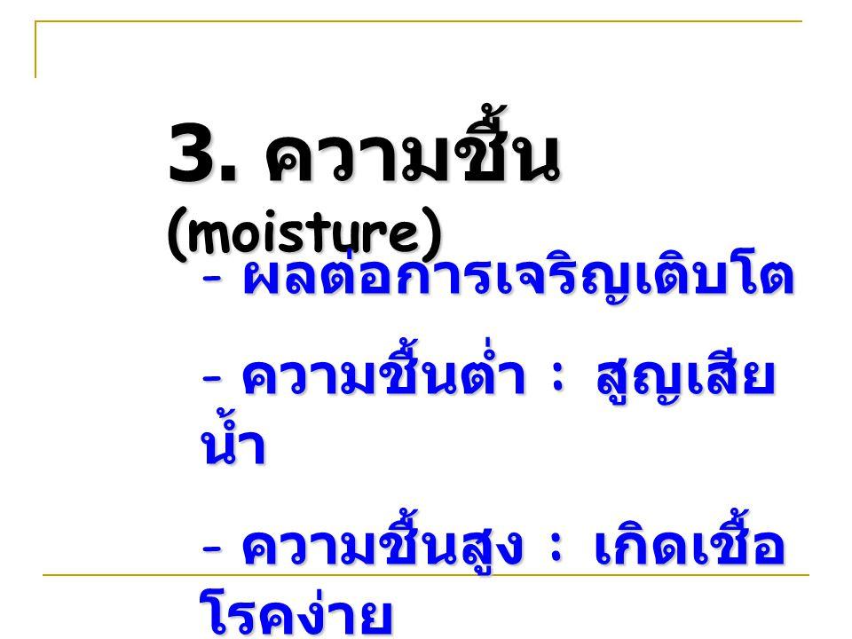3. ความชื้น (moisture) - ผลต่อการเจริญเติบโต - ความชื้นต่ำ : สูญเสีย น้ำ - ความชื้นสูง : เกิดเชื้อ โรคง่าย