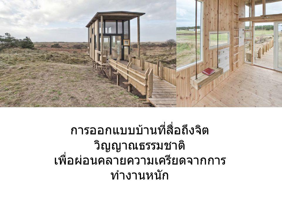 การออกแบบบ้านที่สื่อถึงจิต วิญญาณธรรมชาติ เพื่อผ่อนคลายความเครียดจากการ ทำงานหนัก