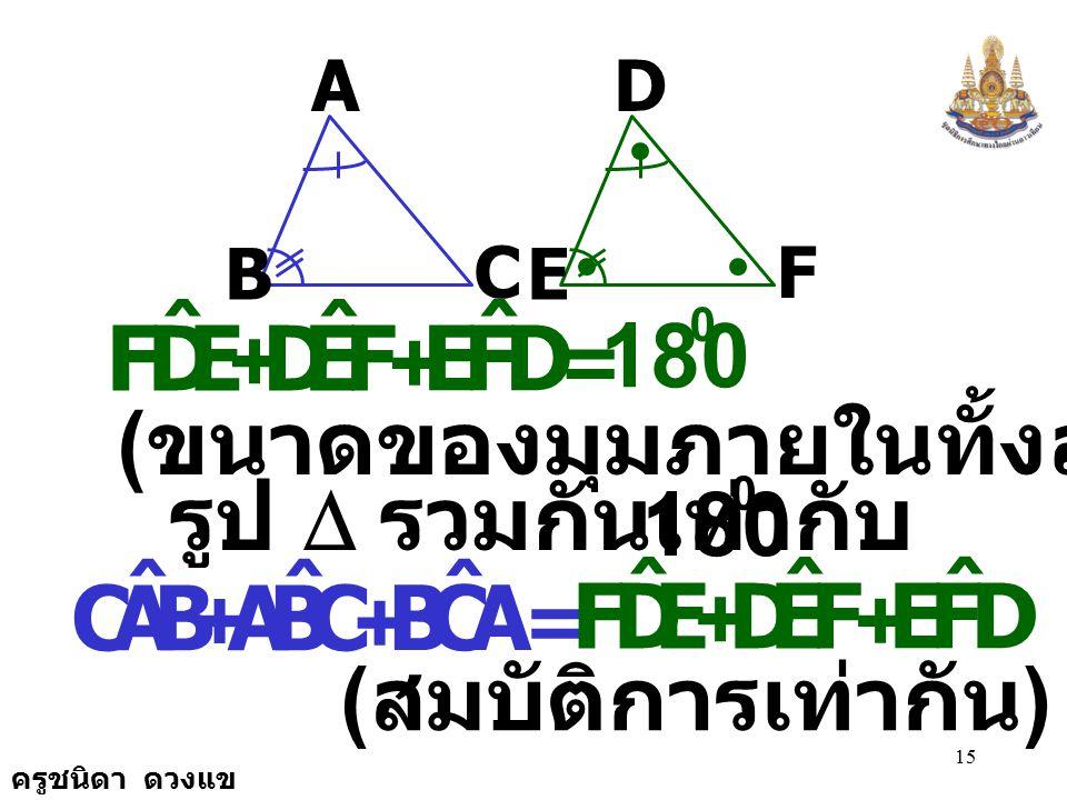 ครูชนิดา ดวงแข 14 A B C D E F เนื่องจาก E,DF ˆ BAC ˆ = FED ˆ CBA ˆ = ( กำหนดให้ ) = 180 0 BAC ˆ + CBA ˆ + ACB ˆ ( ขนาดของมุมภายในทั้งสามมุมของ รูป 