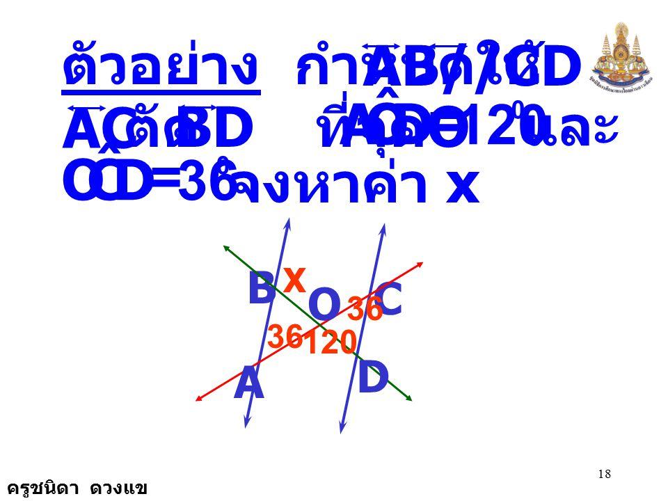 ครูชนิดา ดวงแข 17 รูปสามเหลี่ยมสอง รูปใดมีขนาด ของมุมเท่ากันสองคู่ และมีด้านที่อยู่ ตรงข้ามกับมุมคู่ที่มี ขนาดเท่ากัน ยาวเท่ากันคู่หนึ่งแล้ว รูปสามเหล