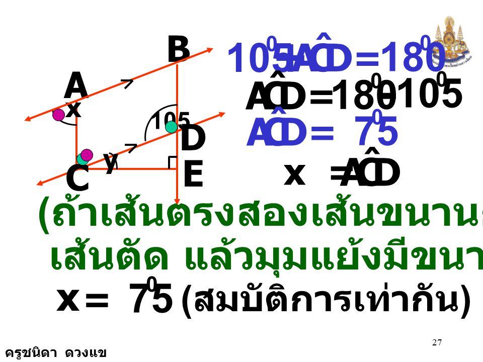 ครูชนิดา ดวงแข 26 B A C E D 105 x y วิธีทำ CDB ˆ DCA ˆ + = 180 0 ( ถ้าเส้นตรงสองเส้น ขนานกันและมีเส้น ตัดแล้วขนาดของมุม ภายในข้างเดียวกัน ของเส้นตัดรว