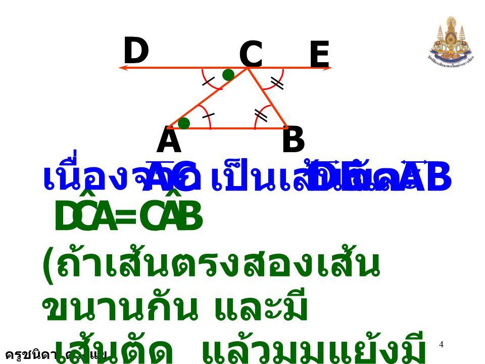 ครูชนิดา ดวงแข 14 A B C D E F เนื่องจาก E,DF ˆ BAC ˆ = FED ˆ CBA ˆ = ( กำหนดให้ ) = 180 0 BAC ˆ + CBA ˆ + ACB ˆ ( ขนาดของมุมภายในทั้งสามมุมของ รูป  รวมกันเท่ากับ ) 180 0
