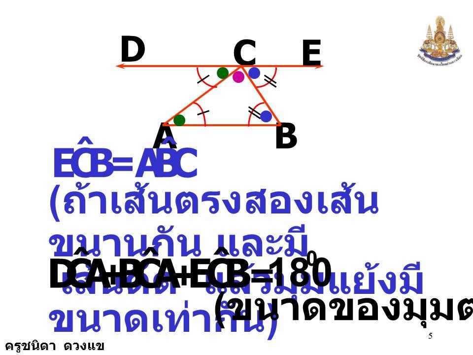 ครูชนิดา ดวงแข 5 A C B D E BCE ˆ = CBA ˆ ( ถ้าเส้นตรงสองเส้น ขนานกัน และมี เส้นตัด แล้วมุมแย้งมี ขนาดเท่ากัน ) = 180 0 ACD ˆ + ACB ˆ + BCE ˆ ( ขนาดของมุมตรง )