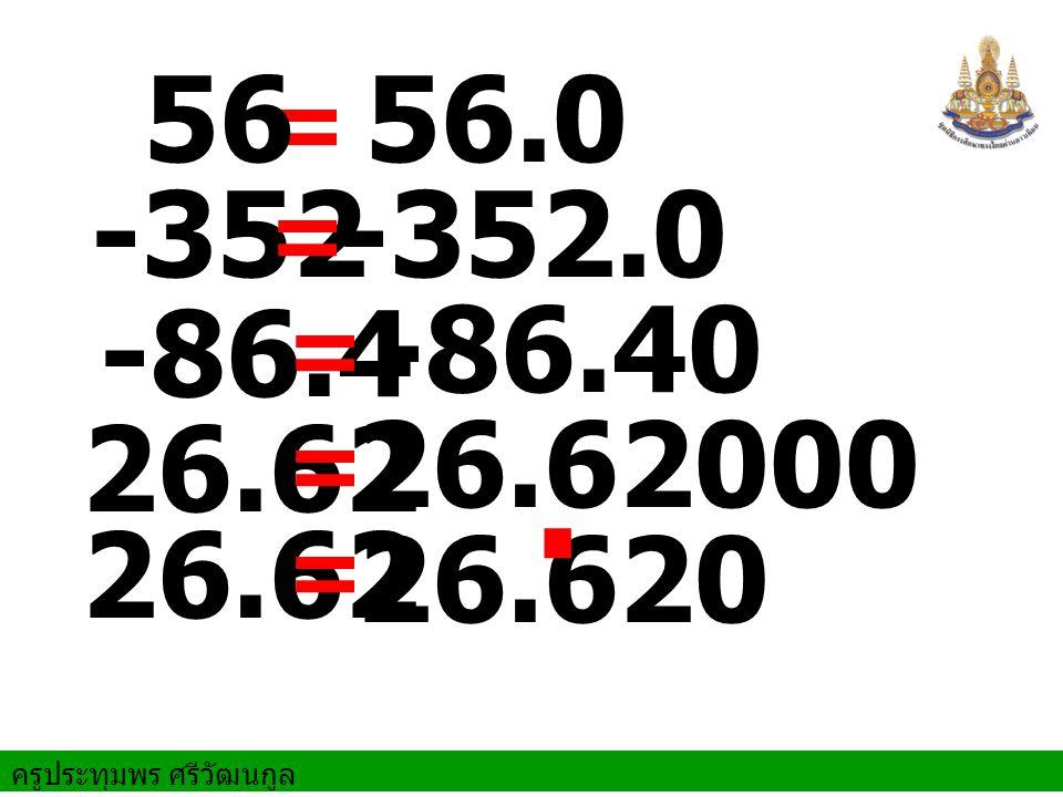 ครูประทุมพร ศรีวัฒนกูล 56.0 = 56 -352.0-352 = -86.4 -86.40 = 26.62 = 26.62000 26.62 = 26.620.