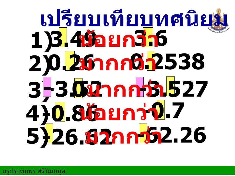 ครูประทุมพร ศรีวัฒนกูล 3.49 3.6 น้อยกว่า เปรียบเทียบทศนิยม 2) 0.26 0.2538 มากกว่า 3) -3.527-3.52 มากกว่า 5) -0.86 -0.7 น้อยกว่า -26.62 -62.26 มากกว่า