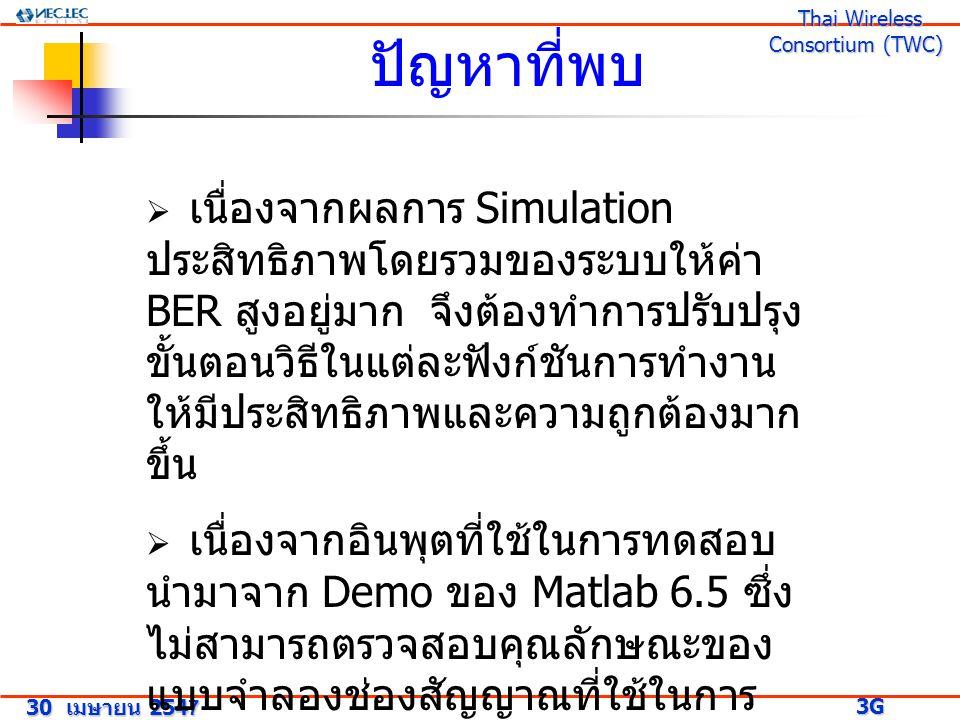 ปัญหาที่พบ 30 เมษายน 2547 3G Research Project 3G Research Project Thai Wireless Consortium (TWC) Thai Wireless Consortium (TWC)  เนื่องจากผลการ Simulation ประสิทธิภาพโดยรวมของระบบให้ค่า BER สูงอยู่มาก จึงต้องทำการปรับปรุง ขั้นตอนวิธีในแต่ละฟังก์ชันการทำงาน ให้มีประสิทธิภาพและความถูกต้องมาก ขึ้น  เนื่องจากอินพุตที่ใช้ในการทดสอบ นำมาจาก Demo ของ Matlab 6.5 ซึ่ง ไม่สามารถตรวจสอบคุณลักษณะของ แบบจำลองช่องสัญญาณที่ใช้ในการ ทดสอบได้