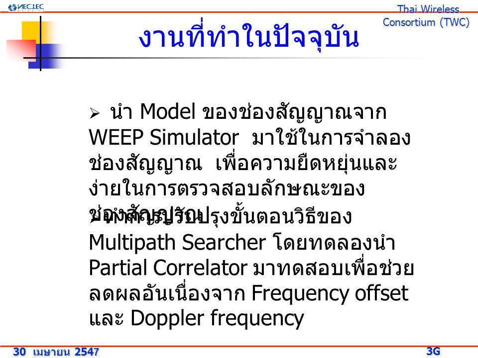 30 เมษายน 2547 3G Research Project 3G Research Project Thai Wireless Consortium (TWC) Thai Wireless Consortium (TWC) งานที่ทำในปัจจุบัน  นำ Model ของช่องสัญญาณจาก WEEP Simulator มาใช้ในการจำลอง ช่องสัญญาณ เพื่อความยืดหยุ่นและ ง่ายในการตรวจสอบลักษณะของ ช่องสัญญาณ  ทำการปรับปรุงขั้นตอนวิธีของ Multipath Searcher โดยทดลองนำ Partial Correlator มาทดสอบเพื่อช่วย ลดผลอันเนื่องจาก Frequency offset และ Doppler frequency
