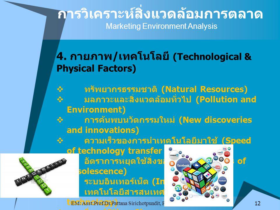 4. กายภาพ / เทคโนโลยี (Technological & Physical Factors)  ทรัพยากรธรรมชาติ (Natural Resources)  มลภาวะและสิ่งแวดล้อมทั่วไป (Pollution and Environmen