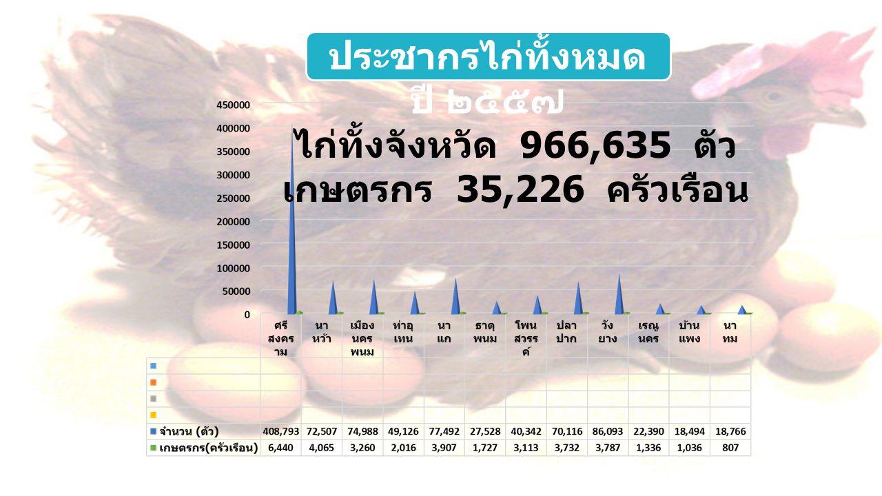 ประชากรไก่ทั้งหมด ปี ๒๕๕๗ ไก่ทั้งจังหวัด 966,635 ตัว เกษตรกร 35,226 ครัวเรือน