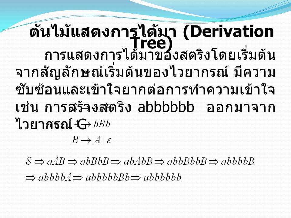 ต้นไม้แสดงการได้มา (Derivation Tree) การแสดงการได้มาของสตริงโดยเริ่มต้น จากสัญลักษณ์เริ่มต้นของไวยากรณ์ มีความ ซับซ้อนและเข้าใจยากต่อการทำความเข้าใจ เช่น การสร้างสตริง abbbbbb ออกมาจาก ไวยากรณ์ G