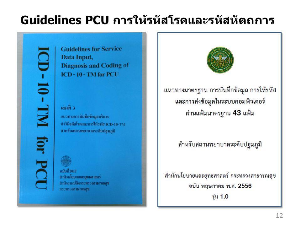 12 Guidelines PCU การให้รหัสโรคและรหัสหัตถการ
