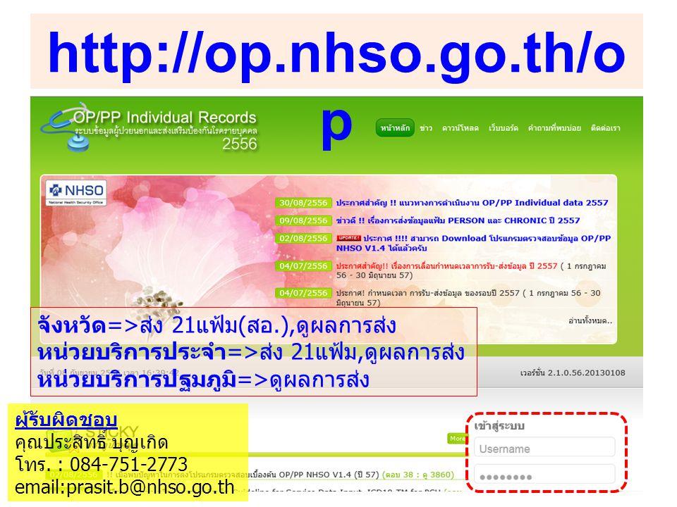 http://op.nhso.go.th/o p จังหวัด=>ส่ง 21แฟ้ม(สอ.),ดูผลการส่ง หน่วยบริการประจำ=>ส่ง 21แฟ้ม,ดูผลการส่ง หน่วยบริการปฐมภูมิ=>ดูผลการส่ง ผู้รับผิดชอบ คุณประสิทธิ์ บุญเกิด โทร.