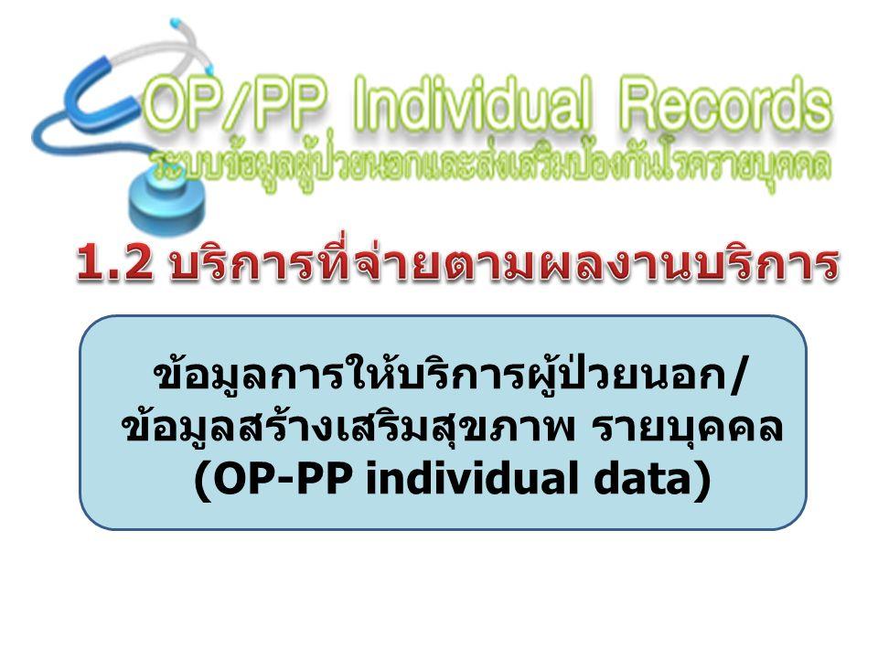 ข้อมูลการให้บริการผู้ป่วยนอก/ ข้อมูลสร้างเสริมสุขภาพ รายบุคคล (OP-PP individual data)