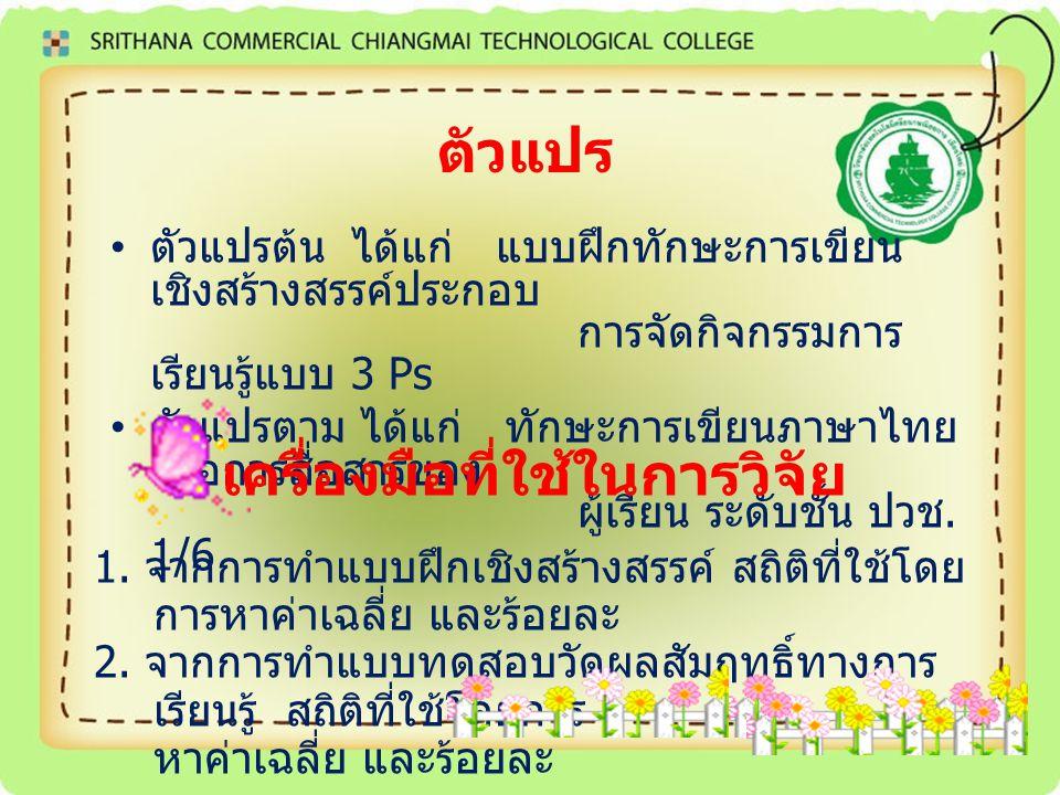 ตัวแปร ตัวแปรต้น ได้แก่ แบบฝึกทักษะการเขียน เชิงสร้างสรรค์ประกอบ การจัดกิจกรรมการ เรียนรู้แบบ 3 Ps ตัวแปรตาม ได้แก่ ทักษะการเขียนภาษาไทย เพื่อการสื่อส