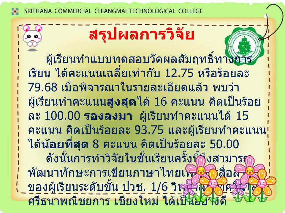 ประโยชน์ที่ได้จากการศึกษา ผู้เรียนเกิดทักษะการเขียนภาษาไทยเพื่อ การสื่อสาร ผู้เรียนมีเจตคติที่ดีต่อการเรียนวิชา ภาษาไทยเพื่ออาชีพ 2 ครูผู้สอนได้นวัตกรรมการเรียนการสอน ประเภทสื่อการสอน โดยใช้แบบฝึกเชิง สร้างสรรค์ในการเรียนรู้ของผู้เรียน ที่ผ่าน การวิจัยทดลองใช้แล้ว เป็นแนวทางในการ พัฒนาการจัดกิจกรรม การเรียนการสอน ต่อไป