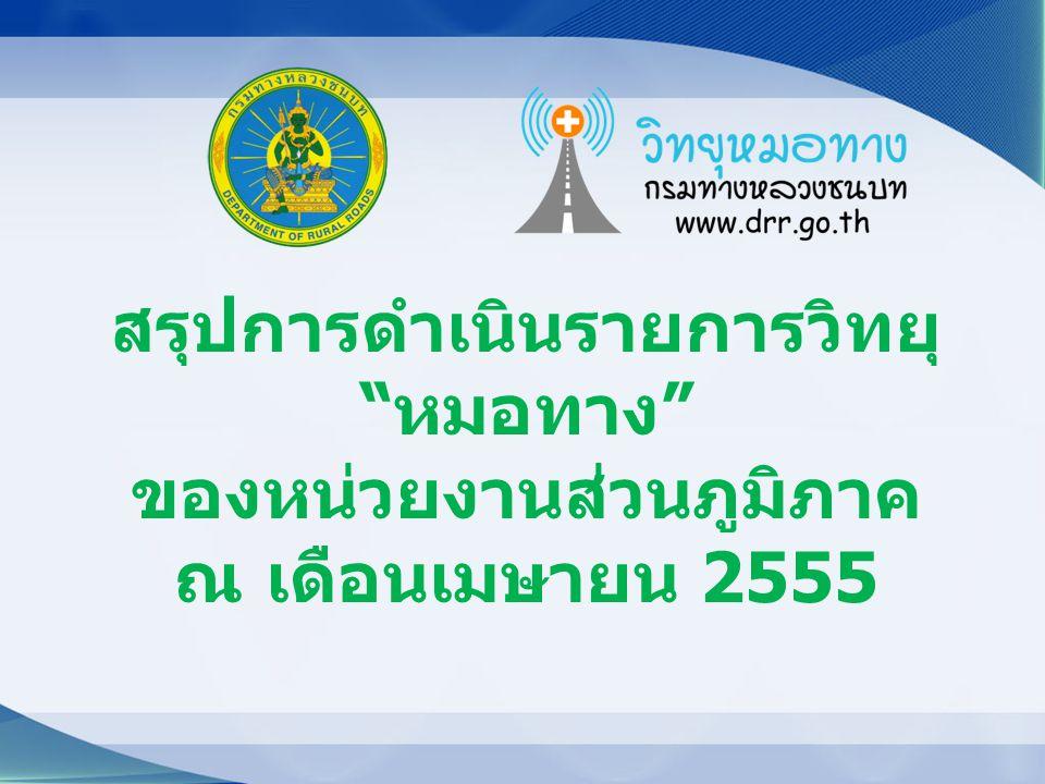 สรุปการดำเนินรายการวิทยุ หมอทาง ของหน่วยงานส่วนภูมิภาค ณ เดือนเมษายน 2555