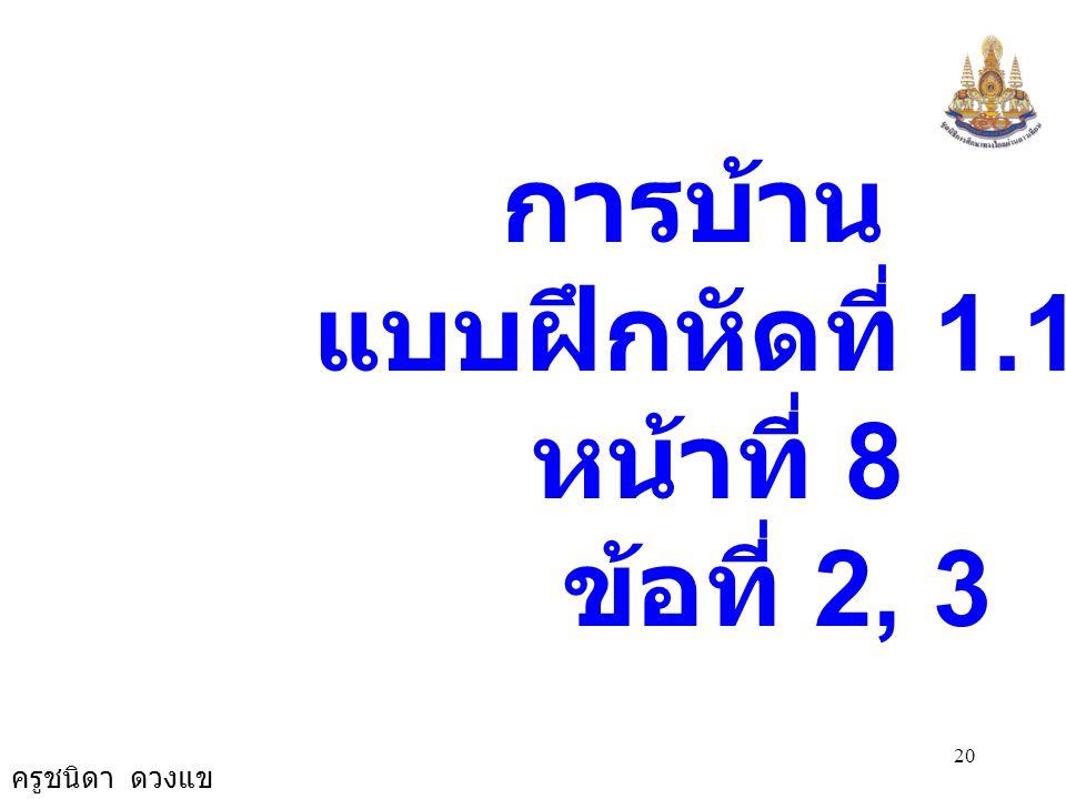 ครูชนิดา ดวงแข 19 2.7 3.6 3.(4) c 2 = a 2 + b 2 c 2 = (3.6) 2 + (2.7) 2 c 2 = 12.96 + 7.29 c 2 = 20.25 c 2 = 4.5 × 4.5 c = 4.5