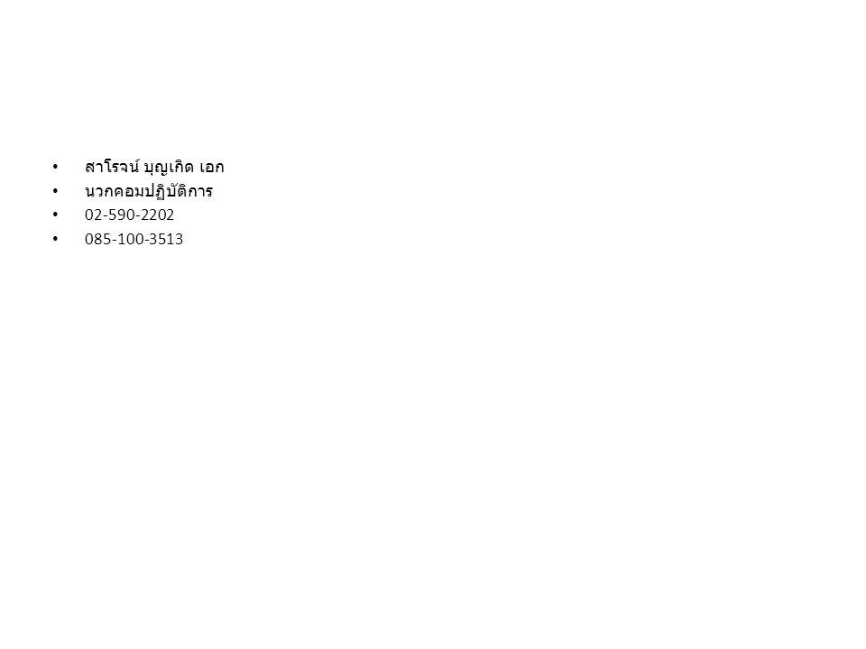สาโรจน์ บุญเกิด เอก นวกคอมปฏิบัติการ 02-590-2202 085-100-3513
