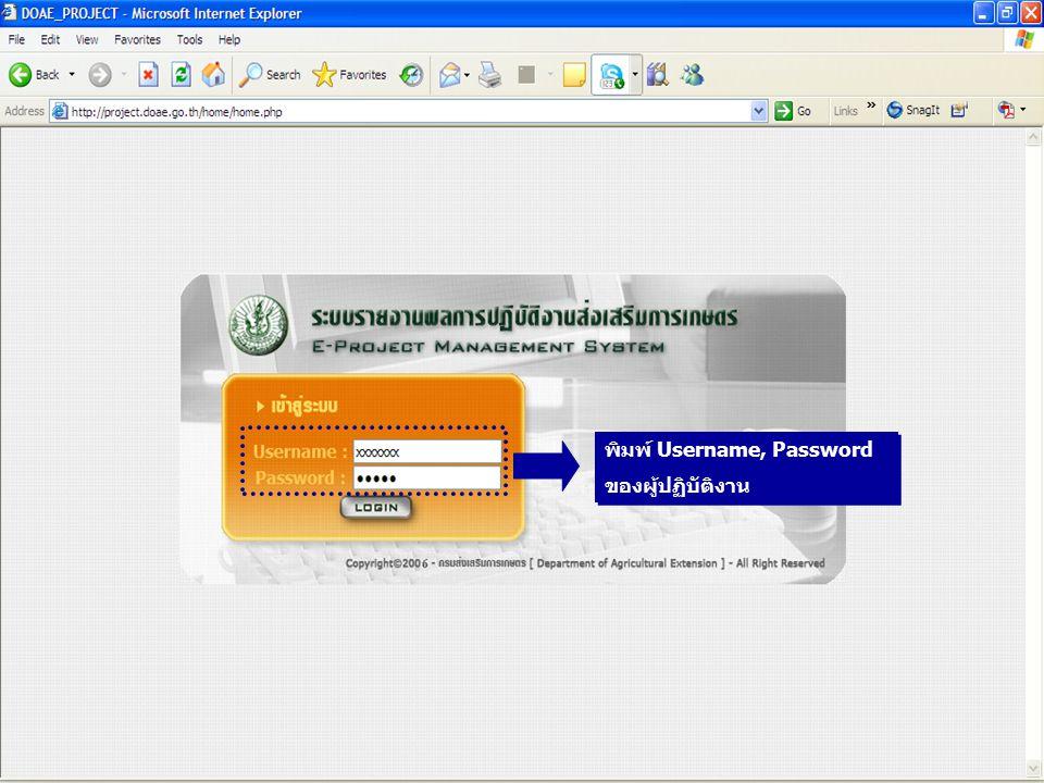 13 พิมพ์ Username, Password ของผู้ปฏิบัติงาน พิมพ์ Username, Password ของผู้ปฏิบัติงาน