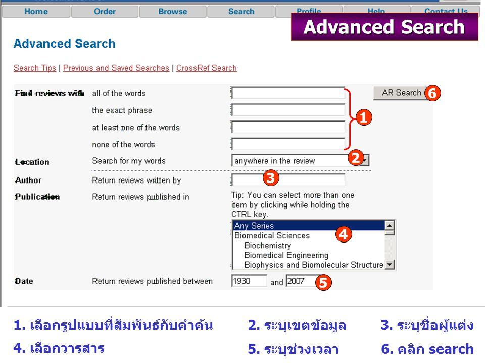 Advanced Search 1 2 3 4 5 6 1. เลือกรูปแบบที่สัมพันธ์กับคำค้น2.