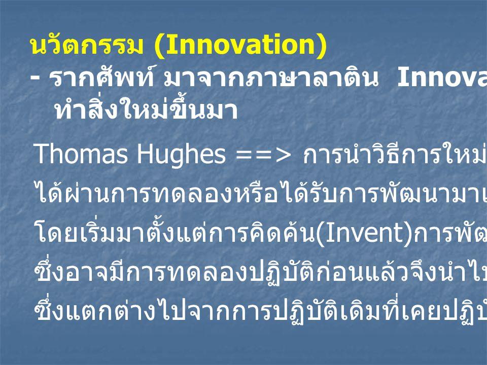 นวัตกรรม (Innovation) - รากศัพท์ มาจากภาษาลาติน Innovare ==> ทำสิ่งใหม่ขึ้นมา Thomas Hughes ==> การนำวิธีการใหม่ๆมาปฏิบัติหลังจาก ได้ผ่านการทดลองหรือได้รับการพัฒนามาเป็นขั้นๆแล้ว โดยเริ่มมาตั้งแต่การคิดค้น (Invent) การพัฒนา (Development) ซึ่งอาจมีการทดลองปฏิบัติก่อนแล้วจึงนำไปปฏิบัติจริง ซึ่งแตกต่างไปจากการปฏิบัติเดิมที่เคยปฏิบัติมา