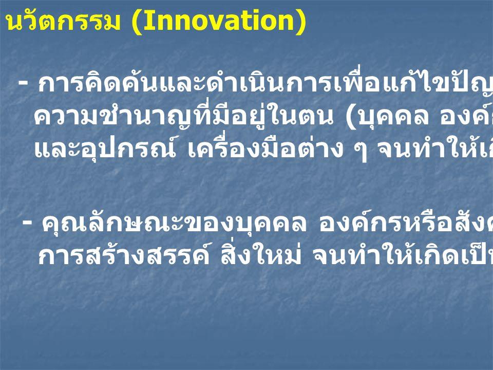 - การคิดค้นและดำเนินการเพื่อแก้ไขปัญหา โดยอาศัยความรู้ ความชำนาญที่มีอยู่ในตน ( บุคคล องค์กรหรือสังคม ) และอุปกรณ์ เครื่องมือต่าง ๆ จนทำให้เกิดนวัตกรรม - คุณลักษณะของบุคคล องค์กรหรือสังคมที่ม่งแสวงหา การสร้างสรรค์ สิ่งใหม่ จนทำให้เกิดเป็นนวัตกรรม